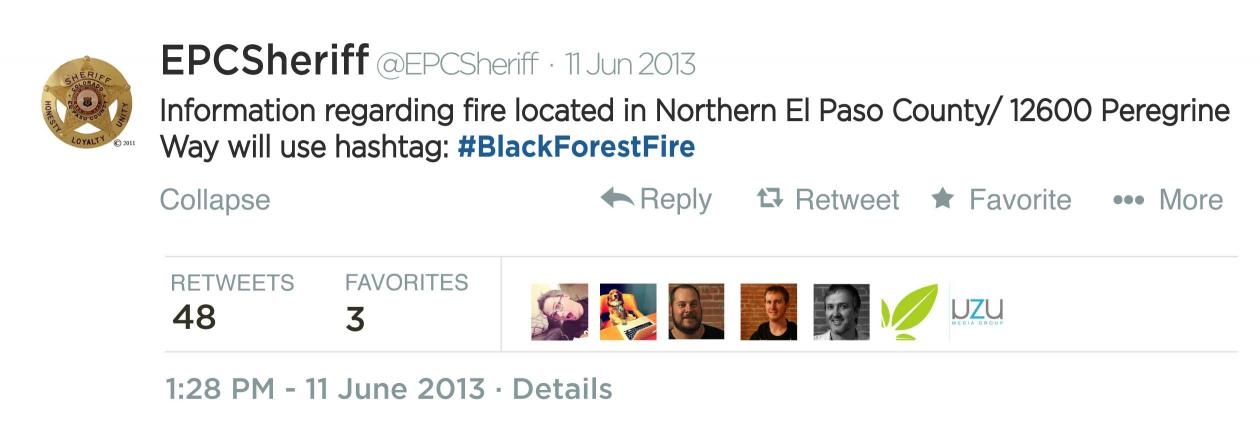 El Paso County Sheriff Tweet about #BlackForestFire